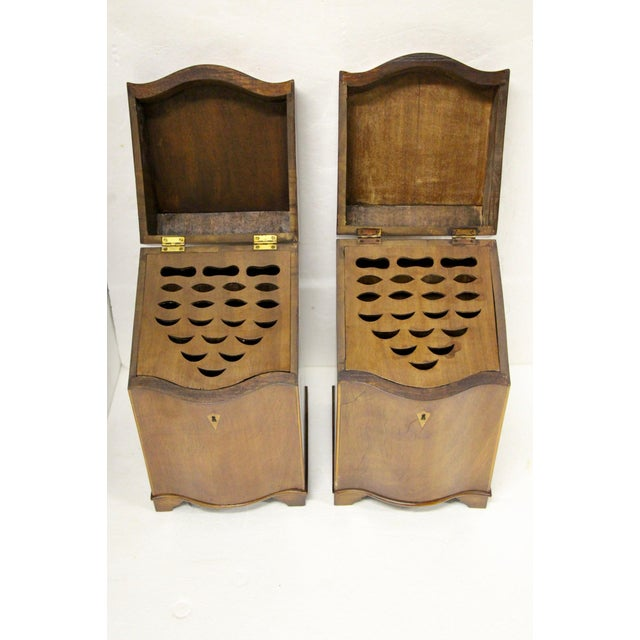 English Inlaid Cutlery Boxes, Pair For Sale - Image 4 of 6