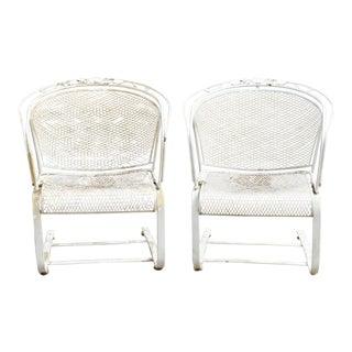 Vintage Mid Century Woodard Daisy Bouquet Barrel Back Bouncer Lounge Arm Chairs- A Pair For Sale