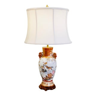 Japanese Satsuma Ware Porcelain Vase Lamp For Sale