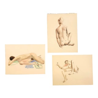 Gallery Wall Collection 3 Original Vintage Female Nude Watercolor Paintings For Sale