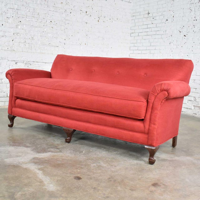 Incredible cranberry red sofa in a smaller size Lawson style with rolled arms, a down wrapped bench style seat, and a...