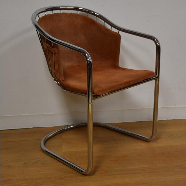 Mid-Century Chrome and Suede Chair - Image 2 of 9