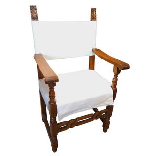 Mid 19th Century Italian Tuscan Farmhouse Set of Six Walnut Armchairs- Set of 6 Preview