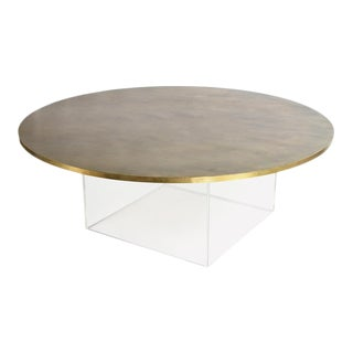 Iona, Acrylic Based Coffee Table With Gold Metallic Top For Sale
