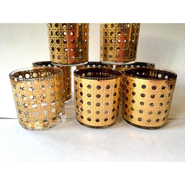 Gold Gilt Cane Patterned Motif Cocktail Glasses - Set of 8 For Sale - Image 4 of 7