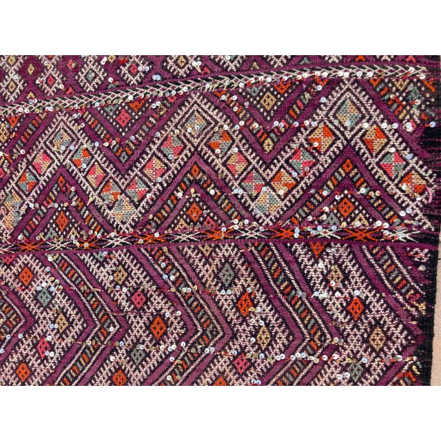 Vintage Moroccan nomadic African Tuareg rug, wool and cotton embroidered geometrical modernist designs and adorned with...