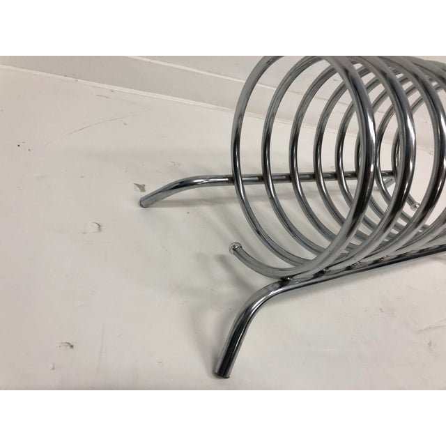 Vintage Mid Century Modern Chrome Metal Record Rack For Sale - Image 6 of 10