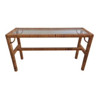 1970s Boho Chic Rattan Console With Glass Top For Sale