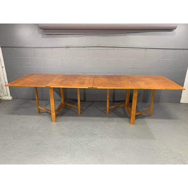 Karl Mathsson Flamed Birch Maria Folding Dining Table by Bruno Mathsson for Karl Mathsson For Sale - Image 4 of 13