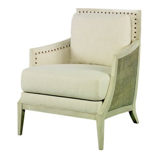 Century Furniture Chesapeake Lounge Chair, French Grey and Flax For Sale