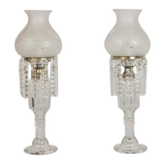 Glass & Crystal Converted Oil Lamps - A Pair For Sale