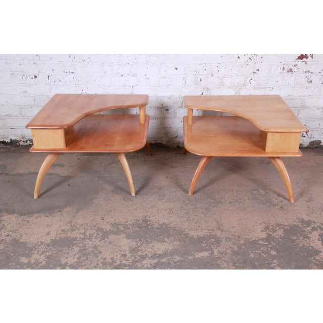 Heywood Wakefield Mid-Century Modern Solid Maple Corner End Table, 1950s For Sale In South Bend - Image 6 of 11