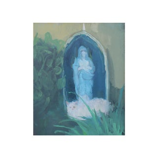 Michelle Farro Garden With White Cat and Mother Mary Print For Sale