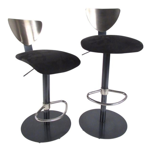 Image of Pair Industrial Metal Bar or Counterl Stools