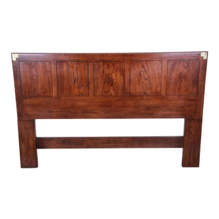 Henredon Campaign Style Queen or Full Size Oak Headboard For Sale