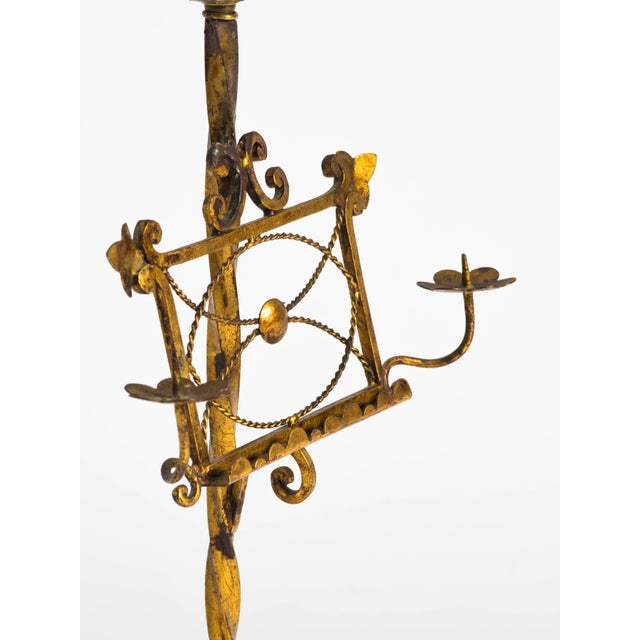 Gilt Metal Italian Music Stand Table Lamp For Sale - Image 4 of 6