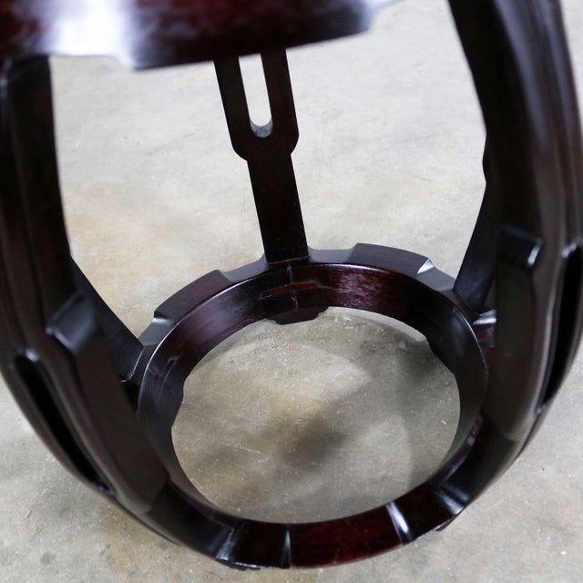 Vintage Asian Rosewood Garden Stool or Barrel Drum Table With Brass Inlaid Design For Sale - Image 9 of 13