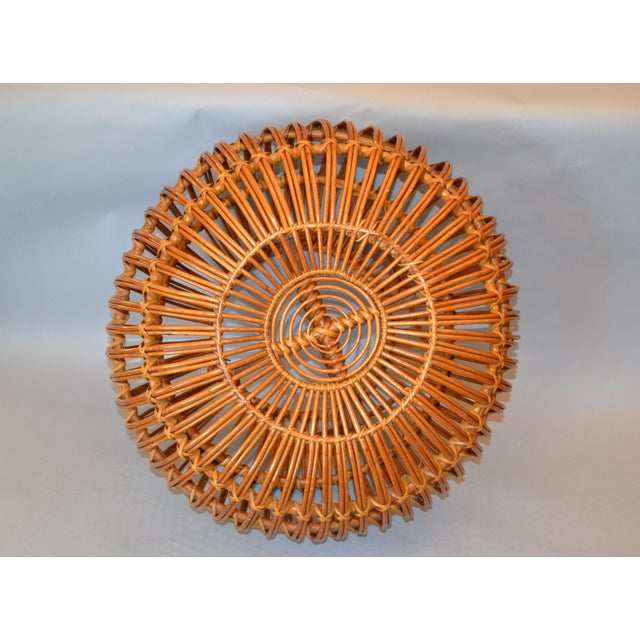 Boho Chic Vintage Franco Albini Hand-Woven Rattan / Wicker Ottoman Pouf For Sale - Image 3 of 12