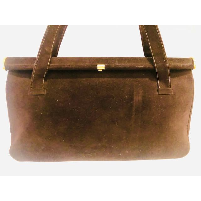 Traditional 1940s Koret Chocolate Calfskin Suede Purse For Sale - Image 3 of 13