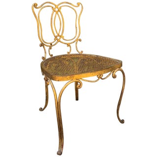 Jean Charles Moreux Gilt French Vanity Stool Chair For Sale