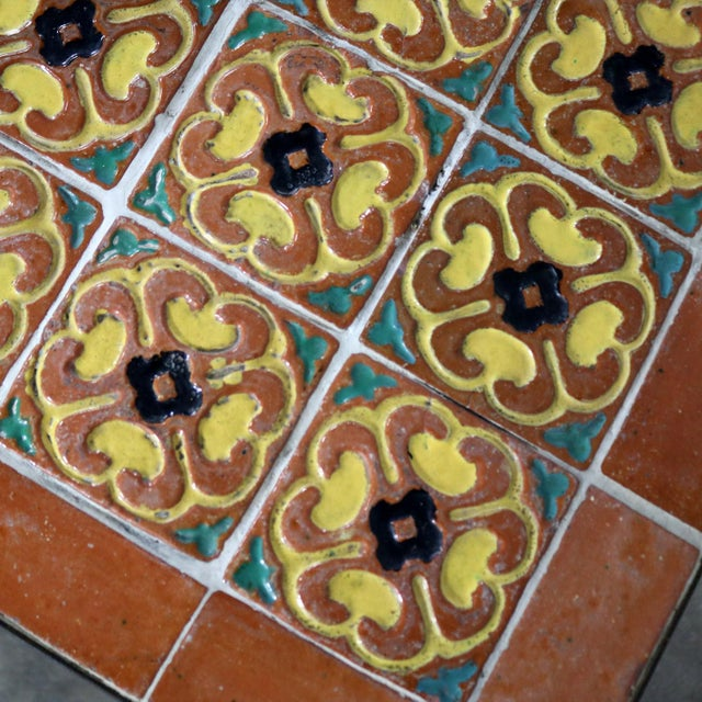 Art Deco Wrought Iron and Tile Side Table California Style Tiles For Sale - Image 10 of 11