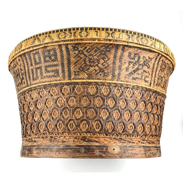 English Chinese Antique Large Woven Empress Basket For Sale - Image 3 of 13