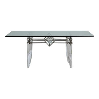 An Unusual Tapered Lucite and Nickel Plated Based Table 1970s For Sale