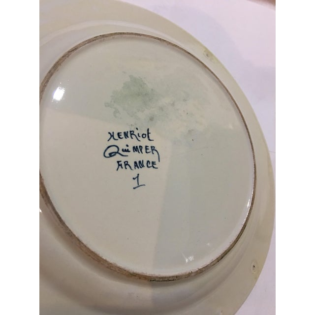 Ceramic 1940s French Henriot Quimper Porcelain Plate For Sale - Image 7 of 8