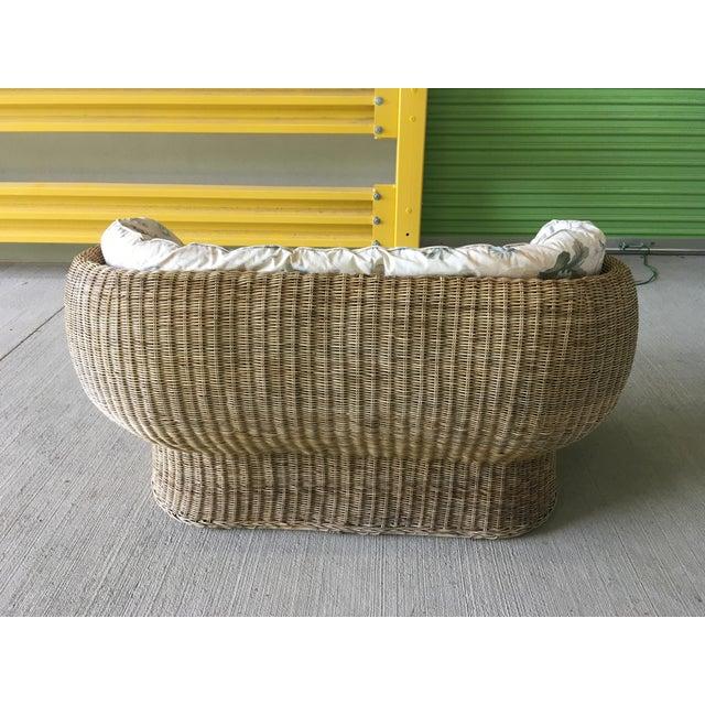 Brown Vintage Wicker Barrel Back Settee For Sale - Image 8 of 12