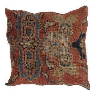 "1900s Persian Leon Banilivi Pillow W/Antique Rug Pillow - 1'7"" X 1'7"" For Sale"