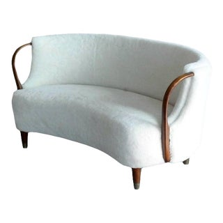 Danish 1950's Viggo Boesen Style Curved Banana Shaped Settee With Open Armrests For Sale