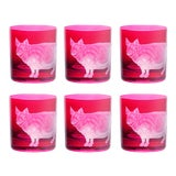 Image of Farm Pig Double Old Fashioned Glasses Fuscia - Set of 6 For Sale