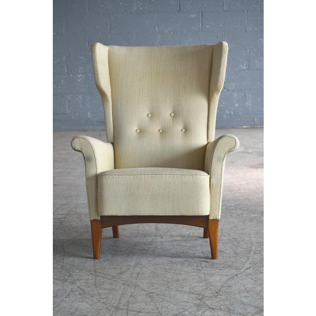 Fritz Hansen Fritz Hansen 1950s Wingback Chair Model 8023 in Teak Danish Mid-Century For Sale - Image 4 of 12