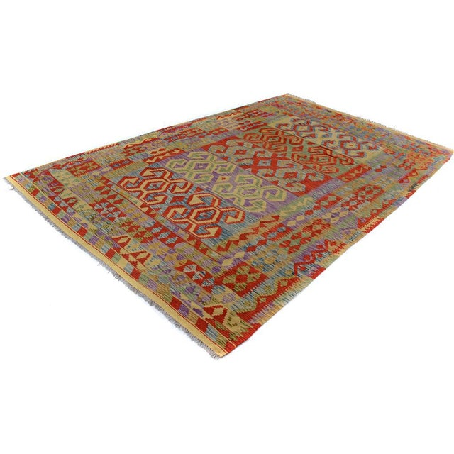 "Textile Kilim Arya Jarrod Gold/Red Wool Rug - 6'5"" X 9'8"" A9288 For Sale - Image 7 of 7"