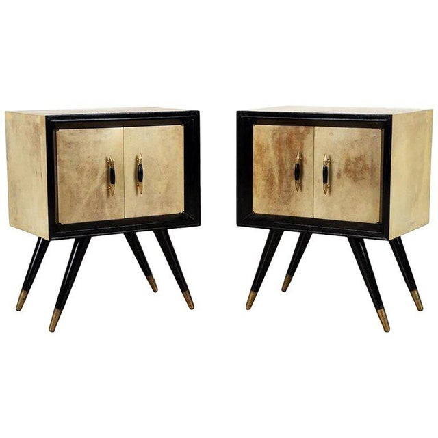 1950s 1950s Mid-Century Modern Ebonized Wood and Parchment Side Cabinets - a Pair For Sale - Image 5 of 5
