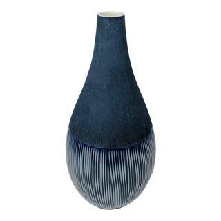 Blue & White Tapered Vase - Handmade in Thailand