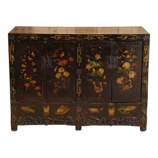 Hand Painted Floral Poplar Shanxi Buffet For Sale