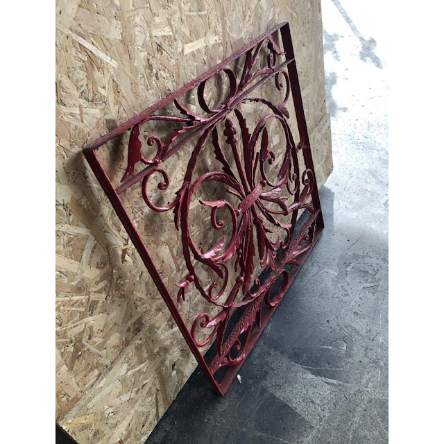 French 19th Century Vintage French Wrought Iron Grille For Sale - Image 3 of 8