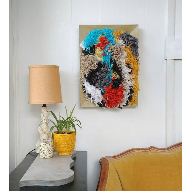 Contemporary Multicolor Fiber Tapestry is a very vibrant abstract 3D wall hanging. This is 6 lbs of very 3 dimentional...