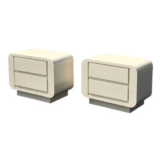 1970's Vintage Laminate Waterfall Pedestal Nightstands- A Pair For Sale