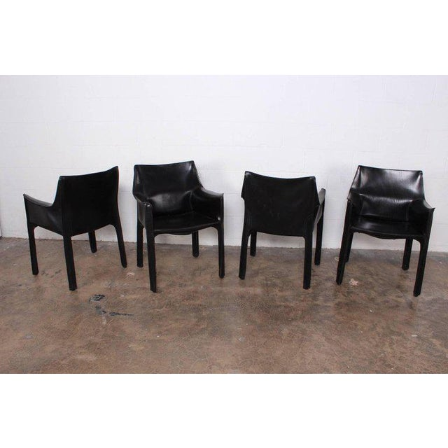 Set of Four Cab Armchairs by Mario Bellini for Cassina For Sale - Image 11 of 11