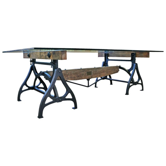 Industrial Cast Iron & Wood Brake Conference Table For Sale - Image 11 of 11