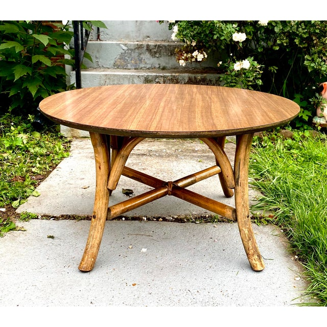 Wood Mid Century J. B. VanScriver Round Dark Rattan Coffee Table For Sale - Image 7 of 7
