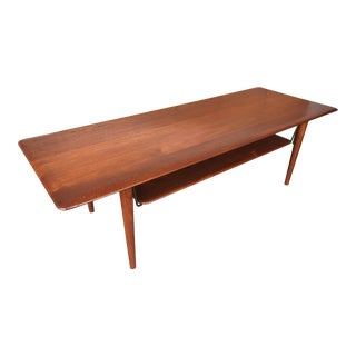 1950s Danish Modern Peter Hvidt for France and Son Solid Teak Coffee Table For Sale