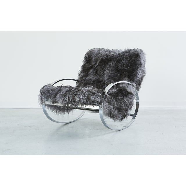 Selig Selig Sheepskin Rocking Chair and Ottoman For Sale - Image 4 of 10