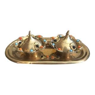 Vintage Brass Moroccan Style Spice Set