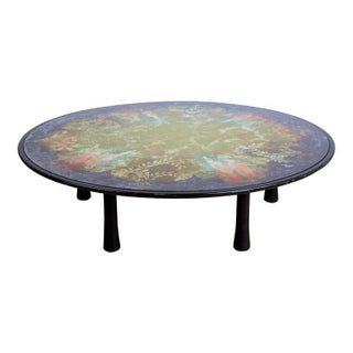 Scandinavian Verre Églomisé Round Floral Painted Coffee Table, circa 1940 For Sale