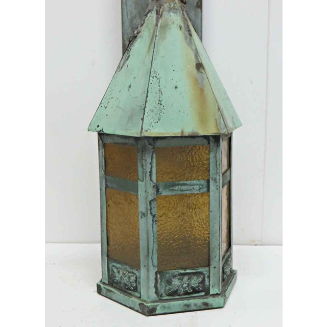 Traditional Vintage Old Copper Lantern Exterior Sconce For Sale - Image 3 of 6