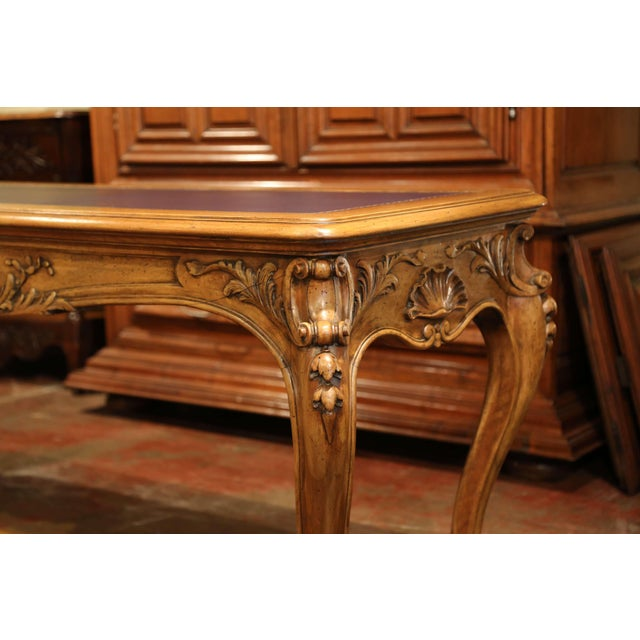 French Large 19th Century French Louis XV Carved Walnut Console Desk With Leather Top For Sale - Image 3 of 13