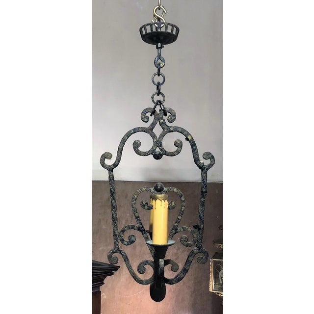 Traditional Pair Antique Iron Hall Lights, 100 Years Old. For Sale - Image 3 of 4
